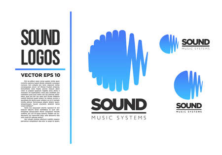 wave crest: Sound Music logo vector logotype wave abstract Illustration