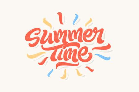 re design: Summer time lettering vector illustration on colourful background
