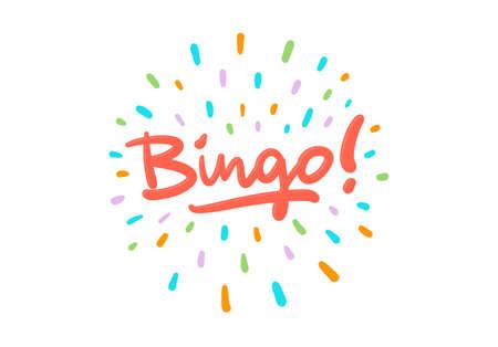 Postal del logotipo del vector del bingo con efecto del chapoteo