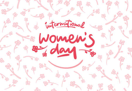 International womens day lettering vector logo postcard