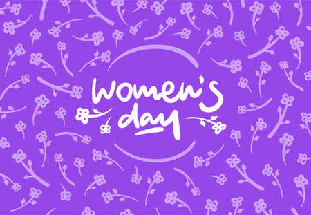 lucky break: Womens day vector lettering logo postcard with flowers