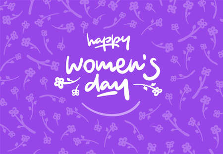 lucky break: Happy womens day lettering vector logo postcard with flowers in background