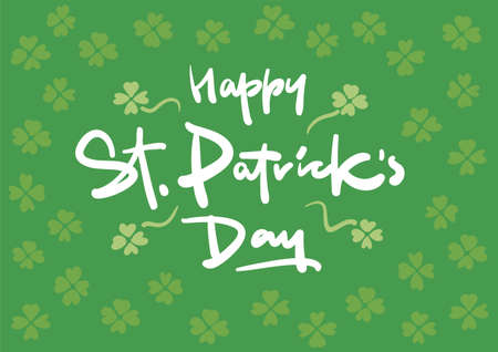 leafed: Happy St. Patricks Day vector lettering postcard