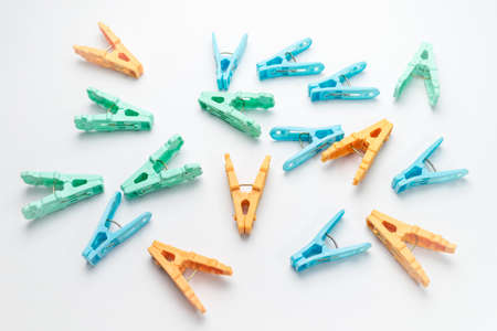 The clothespin on white background