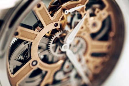 Close up of Internal Mechanism of wristwatch Imagens