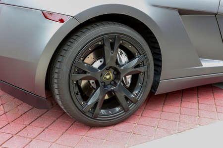 REDMOND, WA - APRIL 29, 2017: Logo of Lamborghini on wheel at Exotic car show at Redmond Town Center. The Largest Weekly Gathering Of Exotic Cars In The USA. Editorial