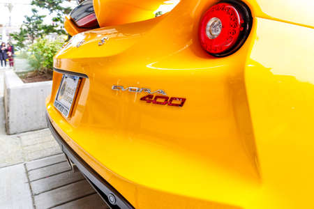 REDMOND, WA - APRIL 29, 2017: Brand new 2017 Lotus Evora 400 sports car at Exotic car show at Redmond Town Center. The Largest Weekly Gathering Of Exotic Cars In The USA.