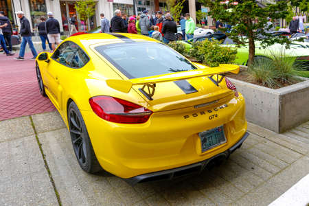 wa: Redmond, WA - April 29, 2017: Porsche GT4 at Exotic car show at Redmond Town Center. The Largest Weekly Gathering Of Exotic Cars In The USA.