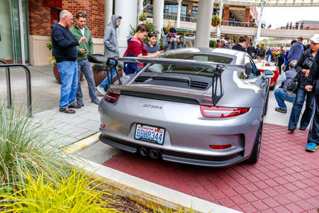 autoshow: Redmond, WA - April 29, 2017: Porsche GT3 at Exotic car show at Redmond Town Center. The Largest Weekly Gathering Of Exotic Cars In The USA. Editorial