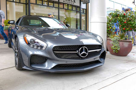 Redmond, WA - April 29, 2017: Silver Mercedes?AMG at Exotic car show at Redmond Town Center. The Largest Weekly Gathering Of Exotic Cars In The USA.