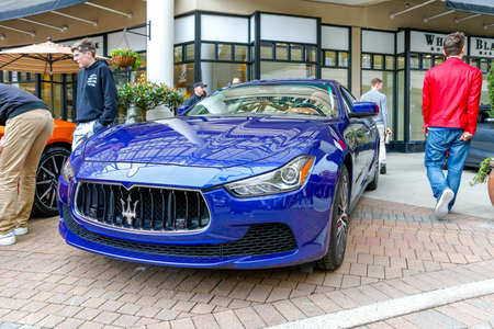 Redmond, WA - April 29, 2017: Blue Maserati Ghibli G4 at Exotic car show at Redmond Town Center. The Largest Weekly Gathering Of Exotic Cars In The USA.