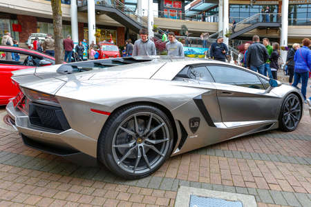 autoshow: REDMOND, WA - APRIL 29, 2017: Silver Lamborghini at Exotic car show at Redmond Town Center. The Largest Weekly Gathering Of Exotic Cars In The USA.