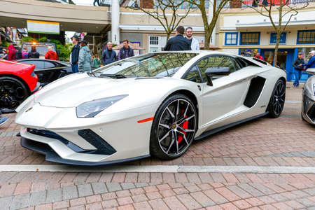 REDMOND, WA - APRIL 29, 2017: White Lamborghini at Exotic car show at Redmond Town Center. The Largest Weekly Gathering Of Exotic Cars In The USA.
