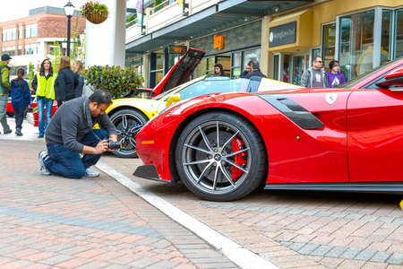 REDMOND, WA - APRIL 29, 2017: Red Ferrari at Exotic car show at Redmond Town Center. The Largest Weekly Gathering Of Exotic Cars In The USA.