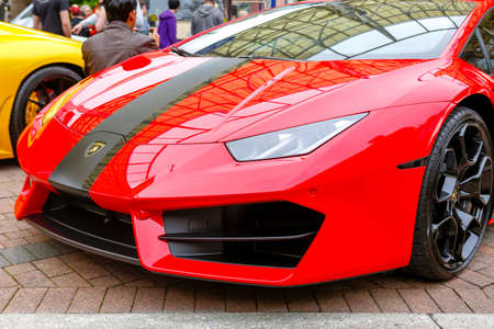 REDMOND, WA - APRIL 29, 2017: Red Lamborghini at Exotic car show at Redmond Town Center. The Largest Weekly Gathering Of Exotic Cars In The USA.