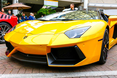 REDMOND, WA - APRIL 29, 2017: Yellow Lamborghini at Exotic car show at Redmond Town Center. The Largest Weekly Gathering Of Exotic Cars In The USA.