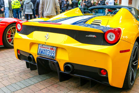 REDMOND, WA - APRIL 29, 2017: Yellow Ferrari at Exotic car show at Redmond Town Center. The Largest Weekly Gathering Of Exotic Cars In The USA. Redakční
