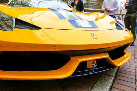REDMOND, WA - APRIL 29, 2017: Yellow Ferrari at Exotic car show at Redmond Town Center. The Largest Weekly Gathering Of Exotic Cars In The USA. Editorial
