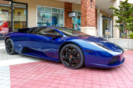 REDMOND, WA - APRIL 29, 2017: Blue Lamborghini at Exotic car show at Redmond Town Center. The Largest Weekly Gathering Of Exotic Cars In The USA.
