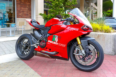 REDMOND, WA - APRIL 29, 2017: Ducati Panigale R Superbike at Exotic car show at Redmond Town Center. The Largest Weekly Gathering Of Exotic Cars In The USA.