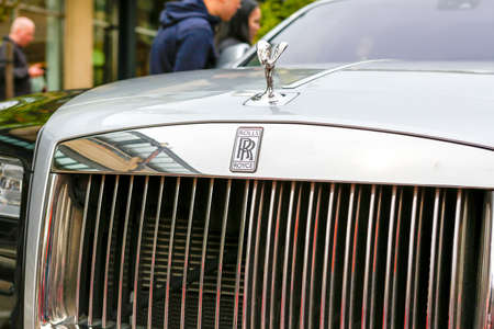 REDMOND, WA - APRIL 29, 2017: Close-up of Silver Lady mascot on the bonnet, hood of a Rolls Royce. Exotic car show at Redmond Town Center. The Largest Weekly Gathering Of Exotic Cars In The USA.