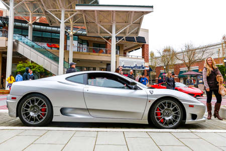 REDMOND, WA - APRIL 29, 2017: Silver Ferrari at Exotic car show at Redmond Town Center. The Largest Weekly Gathering Of Exotic Cars In The USA. Editorial
