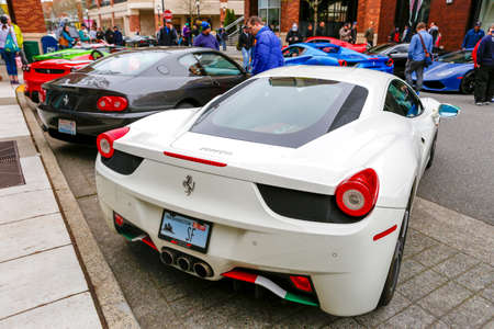 REDMOND, WA - APRIL 29, 2017: White Ferrari at Exotic car show at Redmond Town Center. The Largest Weekly Gathering Of Exotic Cars In The USA. Redakční