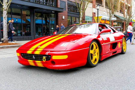 REDMOND, WA - APRIL 29, 2017: Ferrari at Exotic car show at Redmond Town Center. The Largest Weekly Gathering Of Exotic Cars In The USA.
