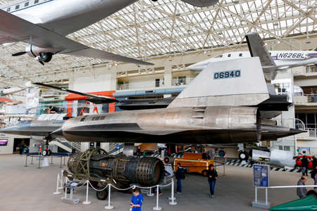 wa: SEATTLE, WA - APRIL 8, 2017: Lockheed M-21 60-6940 is the worlds fastest airplane on display in the Museum of Flight in Seattle, the largest private air and space museum in the world.