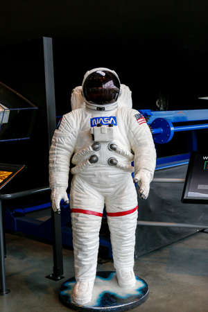 SEATTLE, WA - APRIL 8, 2017: Space suit in the space gallery of  the Museum of Flight, the largest private air and space museum in the world. Editorial