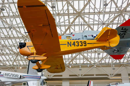 ceiling: SEATTLE, WA - APRIL 8, 2017: Bowers Fly Baby N4339 is on display in the Museum of Flight in Seattle, the largest private air and space museum in the world.  The T. A. Wilson Great Gallery.