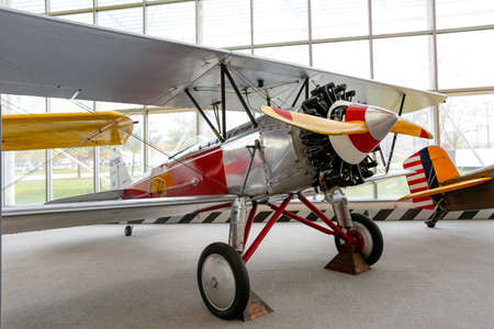 ceiling: SEATTLE, WA - APRIL 8, 2017: Stearman C-3B NC7550 is on display in the Museum of Flight in Seattle, the largest private air and space museum in the world.  The T. A. Wilson Great Gallery. Editorial