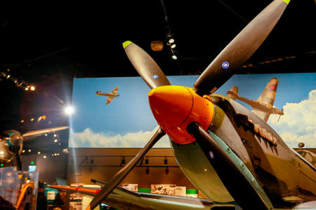 SEATTLE, WA - APRIL 8, 2017: Supermarine Spitfire IX MK923, Legendary WWII Aircraft in the Great Gallery of the Museum of Flight in Seattle, the largest private air and space museum in the world.