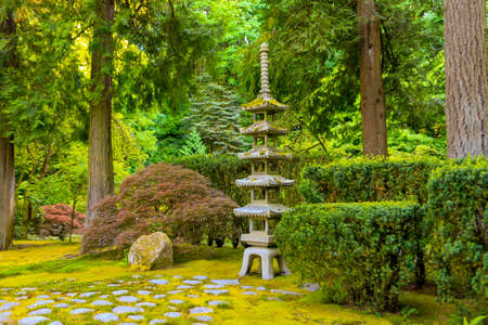 Japanese Garden With Japanese Maple, A Stone Pagoda Lantern And Evergreen  Trees. Stock Photo
