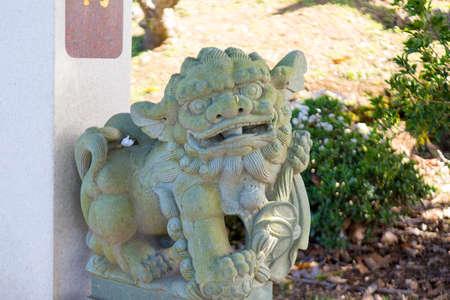 마우이 하와이, 미국에서 썬야만 - 센 기념 공원에서 중국 사자 동상.