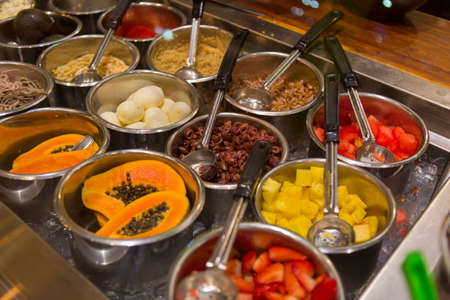 Buffet Food in a restaurant, Maui, Hawaii Stock Photo