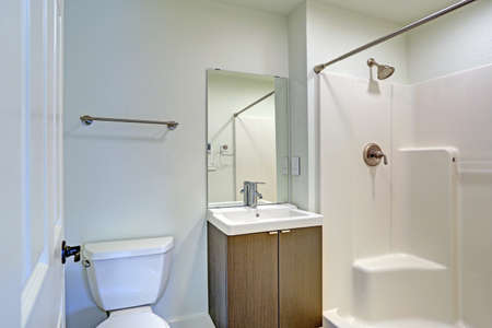renovated: White bathroom interior with a shower positioned beside a vanity cabinet and a toilet nook. Renovated home interior in Everett, WA.