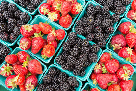 Fresh Organically grown blackberries and strawberries for sale at the farmers market.