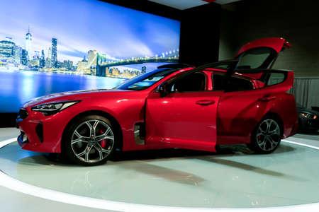 SEATTLE, WA - NOVEMBER 12, 2017: Seattle International Auto Show. Luxury sleek and stylish sports sedan - KIA Stringer 2018.