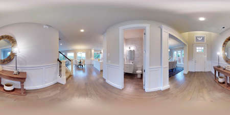 3d Illustration Spherical 360 Degrees, Seamless Panorama Of The Room And Interior  Design. Modern