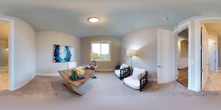 Beau 3d Illustration Spherical 360 Degrees, Seamless Panorama Of The Home Office Interior  Design. Luxury