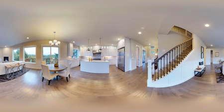 3d illustration 구형 360도, 룸 및 인테리어 디자인의 원활한 파노라마. 워싱턴 주 (3D 렌더링)에서 현대 럭셔리 하우스. 신조