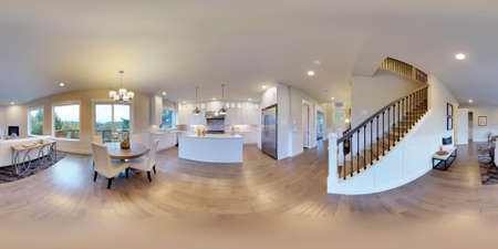 3d illustration spherical 360 degrees, seamless panorama of the room and interior design. Modern luxury house in Washington state (3D rendering). New construction