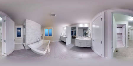 3d illustration spherical 360 degrees, seamless panorama of the bathroom interior design. Modern luxury new construction house in Bellevue, Washington state (3D rendering).