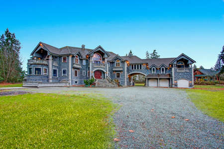 Beautiful curb appeal of a luxurious stone wedding venue in Seattle.