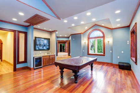Spacious blue entertainment room filled with Billiard Pool Table  and wet bar.