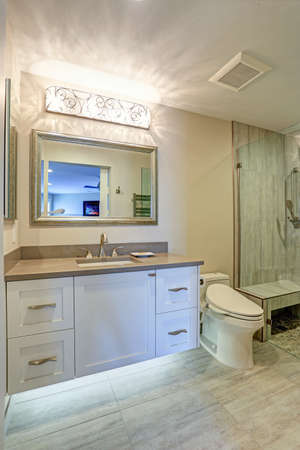 Contemporary bathroom design boasts white bathroom cabinet with taupe Quartz countertop, silver beaded mirror, decorative Lighting Over the Vanity And Led Lighting Under it.