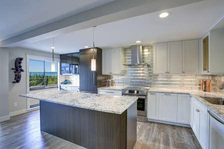 よく任命されたキッチンは、大きなキッチンアイランド、灰色の石英カウンタートップ、シルバーバックスプラッシュと白いシェーカーキャビネットを備えています。