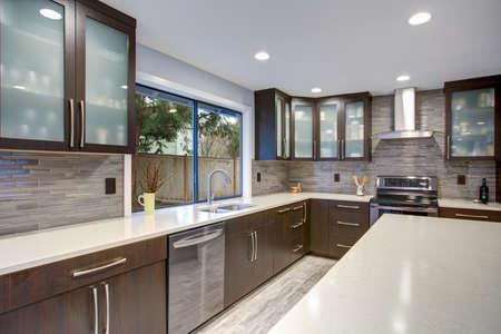 Modernisiertes modernes Interieur des Küchenraums mit weißen Theken und dunklen Holzschränken, die mit luxuriösen Edelstahlgeräten ausgestattet sind. Standard-Bild