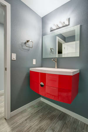 Exceptionnel Grey And Red Bathroom Design In A Freshly Renovated Home. Gray Walls  Complementing A Modern